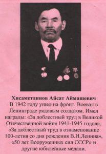 Хисаметдинов Айсат Аймашевич