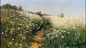 """""""Женщина под зонтиком на цветущем лугу"""", 1881"""