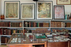 Library study with desk Ernest Hemingway house Finca La Vigia near Havana Cuba